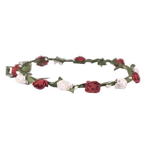 zaza femmes fleur floral FESTIVAL Cheveux Mariage Guirlande fleur couronne serre-tête 9 couleurs - ROUGE ET BLANC, Taille unique, One size