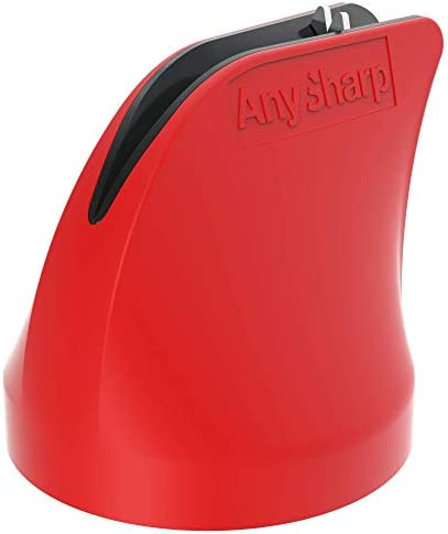 AnySharp Twist Hands Free Safety Knife Sharpener with PowerGrip Suction Red product image