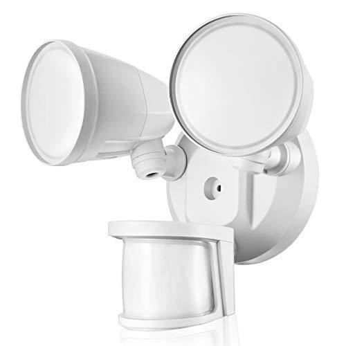 STASUN LED-Sicherheitslicht, 2200lm, 32W ausenlampen mit 240° bewegungsmelder, 5000K, 2 Flutlicht mit verstellbarem Kopf,Außenstrahler für Garten, Garage, Runder Kopf