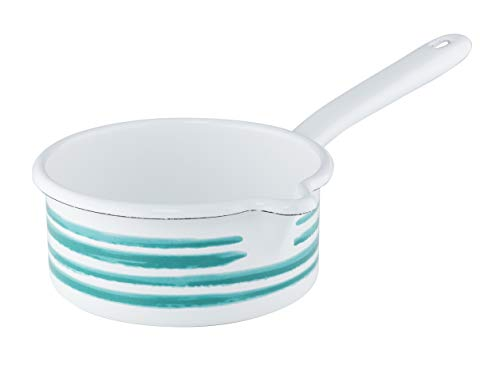 Riess, 0036-048 Saucepan with Large Spout, Country, Special Decoration, Green Flamed, 14 cm, 0.75 Litre Capacity, White, Enamel, Milk Pot, Sauce Pot