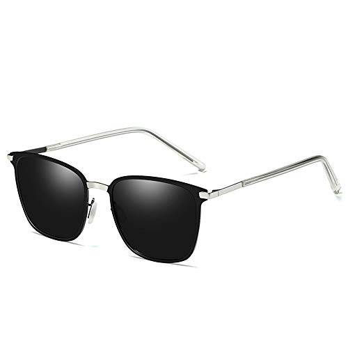 Raxinbang Gafas de Sol Gafas De Sol Polarizadas for Hombre Caja De Metal Nueva Gafas De Conductor Protección UV400 Lente Gris (Color : Silver)