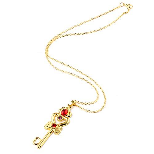 Bonito collar de cadena de eslabones de oro con varita para mejores amigos, colgante de llave, joyería de circonita cúbica de Anime de corazón para niñas