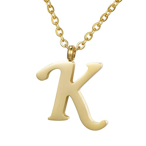 Morella Damen Halskette mit Buchstabe K Anhänger Edelstahl Gold in Schmuckbeutel