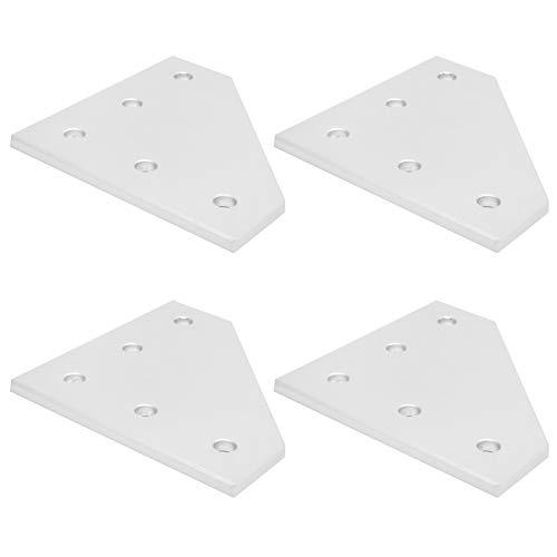 Piastra di giunzione a 5 fori, pratica piastra di giunzione esterna, strumento di collegamento ad angolo retto Piastra di rinforzo in argento, per stampante 3D(Type 4040L)