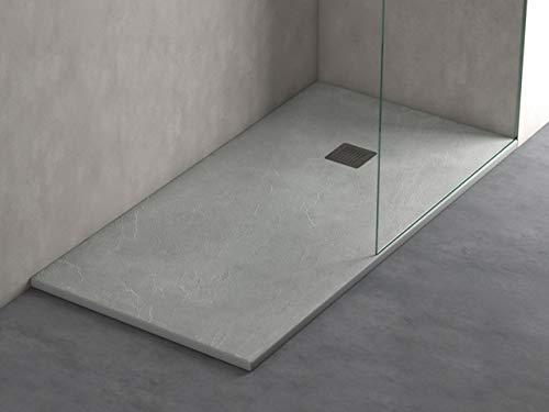 Plato ducha resina antideslizante textura pizarra Smooth Bricodomo 70x120 Gris