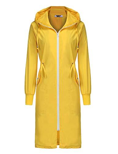 ELESOL Damen Leichter Wasserdicht Lange Regenmantel Kapuze Outdoor Wandern Regenjacke S-XXL - Gelb - X-Groß