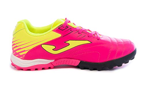 Joma Kids' Toledo JR TF Turf Soccer Shoes (10 Toddler, Neon Pink/Neon Yellow)