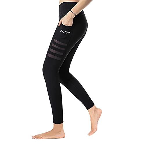 COTOP Leggings de Yoga Pantalones Deportivos, Pantalones Deportivos de Cintura Alta para Correr Elásticos y Transpirables con Bolsillos Laterales para Mujeres (Negro, XL, x_l)