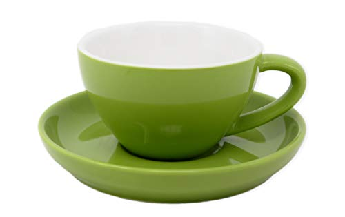 Cappuccino Cup and SaucerDurable Porcelain 8 Ounce Capacity for Specialty Coffee Drinks Latte Cafe Mocha Green 1