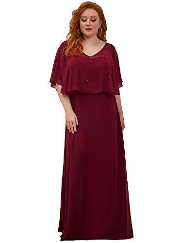 Ever-Pretty Damen V-Ausschnitt Kurzarm Bodenlang A-Linie Empire Taille Elegante Chiffon Abendkleider Große Größe Burgund 54EU