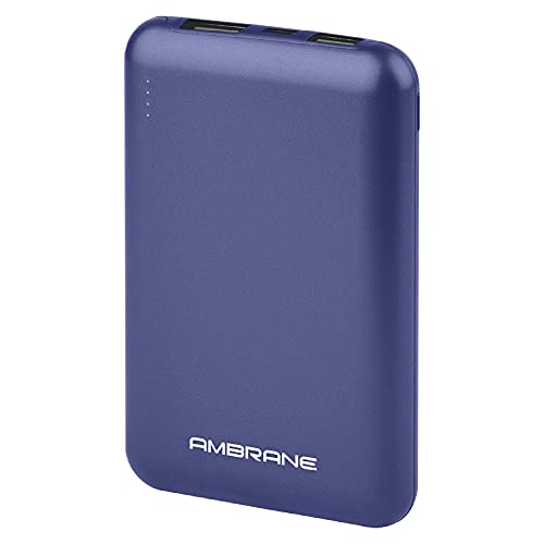 Ambrane 10000 mAh Compact Power Bank with Fast Charging, Sleek Design, Dual Output, Type C Input, Li-Polymer, Made in India for Mobiles & Other Devices + Free Type C Cable (Powerlit, Blue)