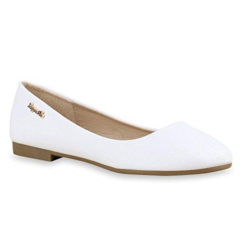 stiefelparadies Klassische Damen Strass Ballerinas Elegante Slipper Übergrößen Metallic Glitzer Flats Schuhe 134612 Weiss Gold 36 Flandell