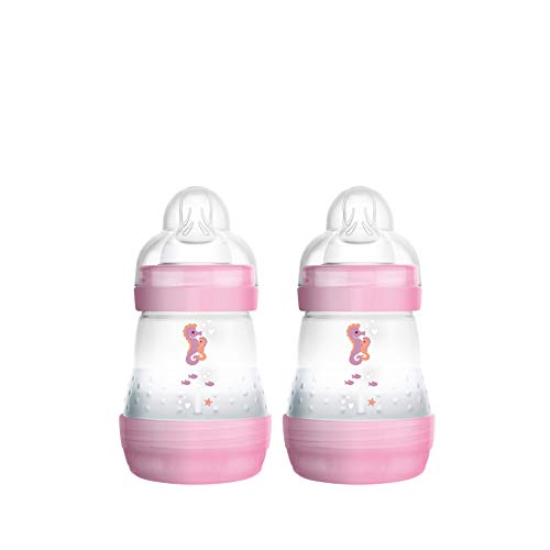 MAM Easy Start Anti-Colic Babyflasche im 2er Set (160 ml), Milchflasche für die Kombination mit dem Stillen, Baby Trinkflasche mit Bodenventil gegen Koliken und Sauger Größe 1, 0+ Monate, Seepferdchen