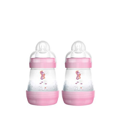 MAM Easy Start Anti-Colic Babyflasche im 2-er Set (160 ml) – Babyflasche mit innovativem Bodenventil gegen Koliken – Baby Trinkflasche mit Sauger Größe 1, ab der Geburt, Seepferdchen, rosa