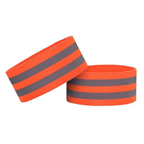 Toporchid Reflektierende Hand- und Knöchelriemen Elastische Armbänder für Läufer, Radfahrer und Kinder (Orange)