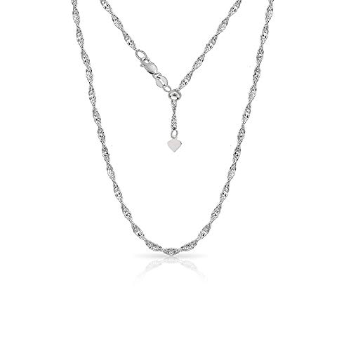 Sterling Silver 1.5MM Adjustable Singapore Chain Twist Chain Necklace For Women- 24