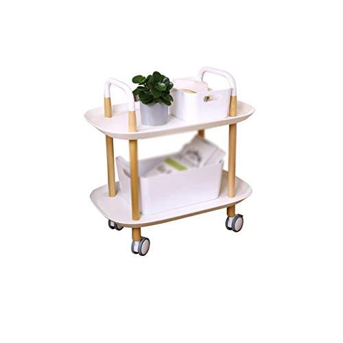CSQ Utility winkelwagen met wielen, 2-tier Plastic Kar van het Voedsel opslag Auto Met Brake Home Use Living Room Office Decorative Trolley (Color : C, Size : 37 * 57.5 * 59CM)