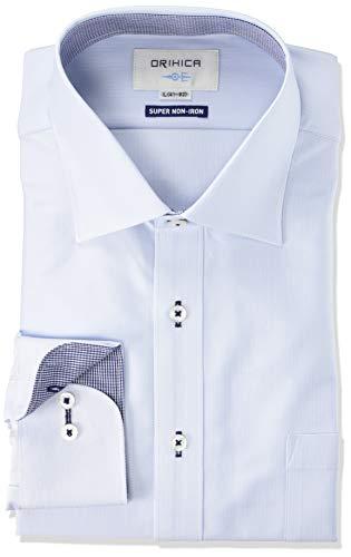 [オリヒカ] 選べるスーパーノンアイロン ワイシャツ 【速乾/消臭/ストレッチ/長袖/ビジネス】 メンズ ブルー折柄-襟裏切替(FYLW4927) 首回り39cm裄丈84cm
