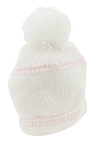 Bonnet à pompon tricoté pour bébé fille et garçon rose blanc/rose 3-6 mois