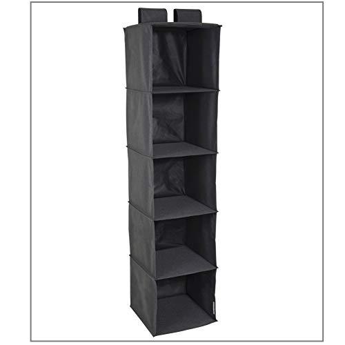 Bigso Box of Sweden Schrankorganizer für die Kleiderstange mit 5 großen Ablagefächern – Hängeorganizer für den Kleiderschrank mit Klettverschluss – Hängeregal aus Polyester und Karton