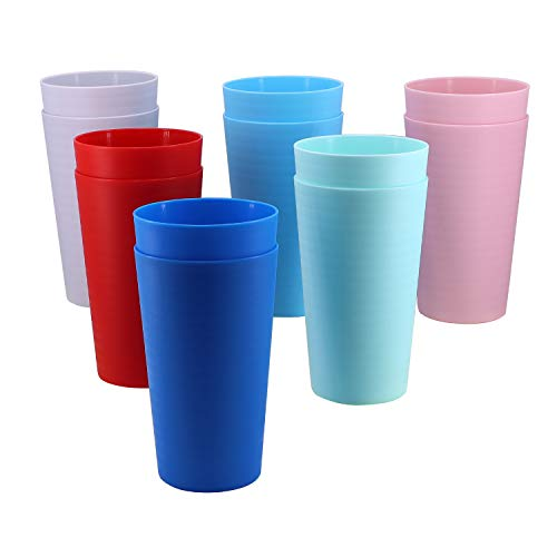 AOYITE 28-ounce Plastic Tumblers set, BPA-free and Dishwasher Safe Reusable Drinking Cups Set of 12...