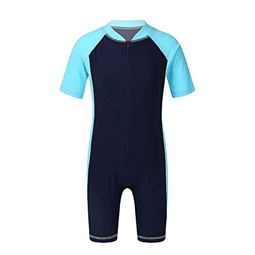 Einteilige Tauchanzüge, Kinder Jungen Swimsuits Kurze Ärmel Neoprenanzug Reißverschluss Rash Guard Surfen (Color : Navy Blue+Sky Blue, Größe : 160cm)