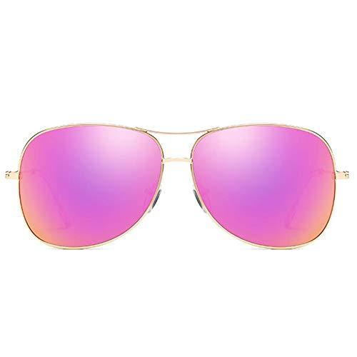 LG Snow Moda Salvaje Nuevo Metal Material Colorido Gafas De Sol Marco Dorado Verde/Rosa/Púrpura Lentes Hombres Y Mujeres con Las Mismas Gafas De Sol Polarizadas De Conducción (Color : Purple)