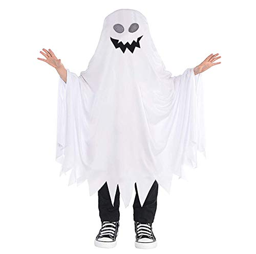 Halloween Costume Baby Boys Girls Cute Ghost Hooded Poncho Cloak Robe Cape Hat Blanket Hoodie Cosplay Clothes (2-4T, Ghost #1)