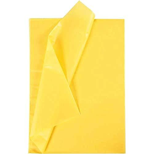 Creavvee Papier de soie 28 feuilles format 50 x 70 cm Jaune
