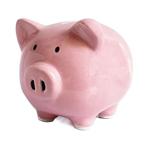 Pink Piggy Banks, Piggy Bank for Girls Boys Kids A New for White Piggy Bank for Boys,Girls,Kids,Adult Coin Bank with DIY Sticker (Pink)