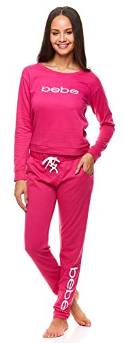 bebe Womens Pajama Set with Pockets - Long Sleeve Shirt and Jogger Pants Loungewear Set (Fuchsia, Medium)
