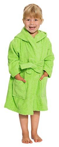 ZOLLNER Kinder Bademantel mit Kapuze, 100% Baumwolle, 104/110, 2-3 Jahre, grün