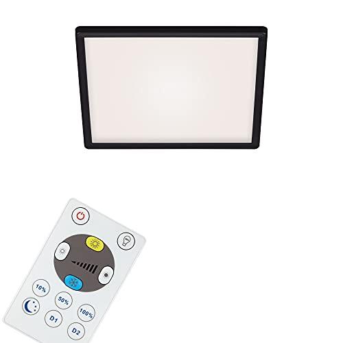 Briloner Leuchten - LED Panel, Deckenleuchte dimmbar, Deckenlampe mit Backlight, inkl. Fernbedienung, 18 Watt, 2400 Lumen, Weiß-Schwarz, 293x293x28mm (LxBxH)