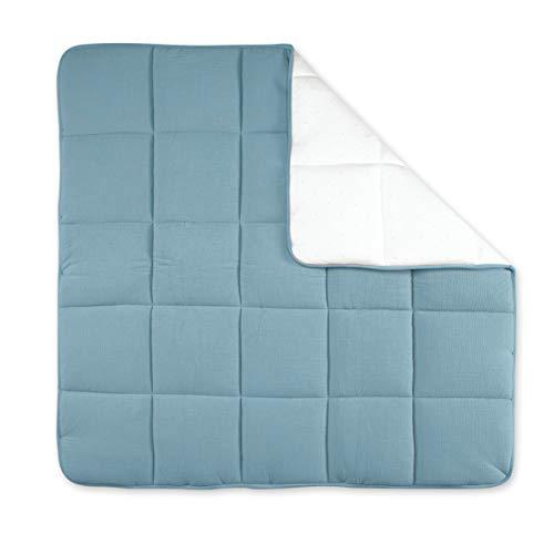 Tapis de parc 100x100 cm Tetra Jersey bleu minéral - Bemini
