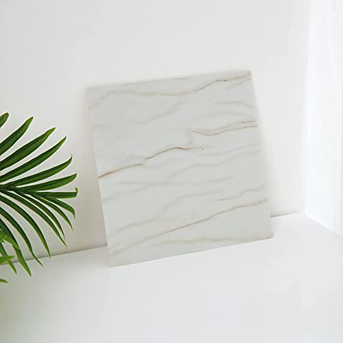 Peel and Stick Marble Vinyl Flooring 12in×12in Durable Waterproof Vinyl Tiles Self Adhesive and Removable for Kithen Living Room and Bathroom Floor Renovated Easy to Remove and Reposition