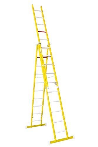 Escalera aislante de tijera con un tramo extensible, fabricada en fibra de vidrio. NO permite su uso con los tres tramos extendidos. Según norma UNE-EN 131 (10 peldaños x 3 tramos)