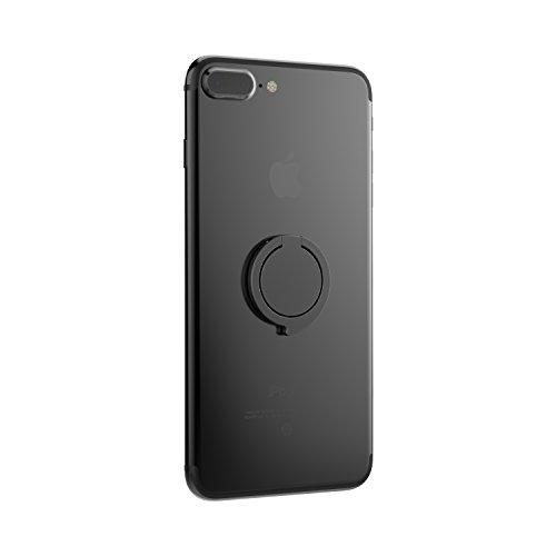 Kronya® | Portaobjetos giratorio 360 ° para smartphone | Sostenedor aptitud dedo coche celular anillo soporte teléfono móvil Apple iPhone iPad 7 8 10 X Samsung Galaxy S8 3 (Negro)