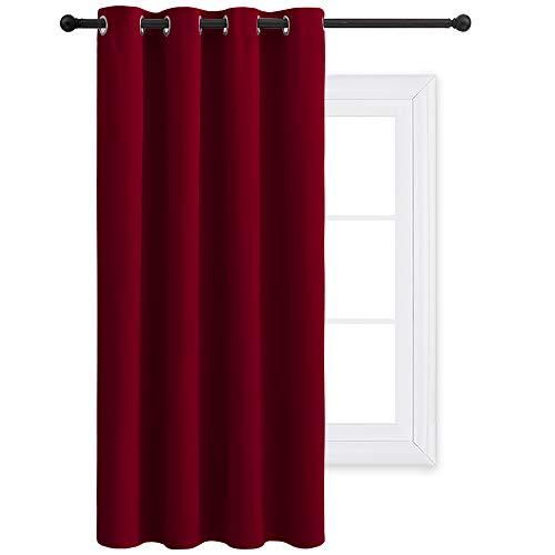 PONY DANCE Cortinas Opacas Habitacion Matrimonio Rojo - Accesorios Ventanas Drapeados con Ollaos Textiles Térmico Aislantes/Decoracion para Dormitorio Infantil, Un Panel, 132 x 158 cm (An x L)