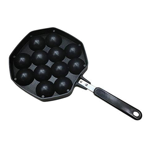 Onlyonehere Takoyaki Pan, bandeja antiadherente de aleación de aluminio fundido Takoyaki Maker, bandeja de bolas de pulpo Takoyaki japonés, 12 agujeros