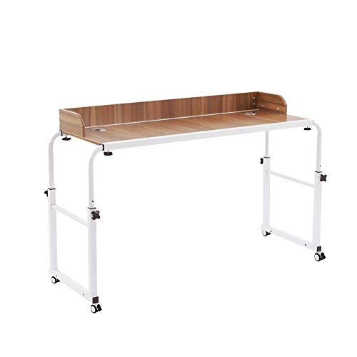 NOVII Height Adjustable Over Bed Table Laptop Cart with Wheels Computer Table Student Study Rolling Table Food Tray Desk (Oak)