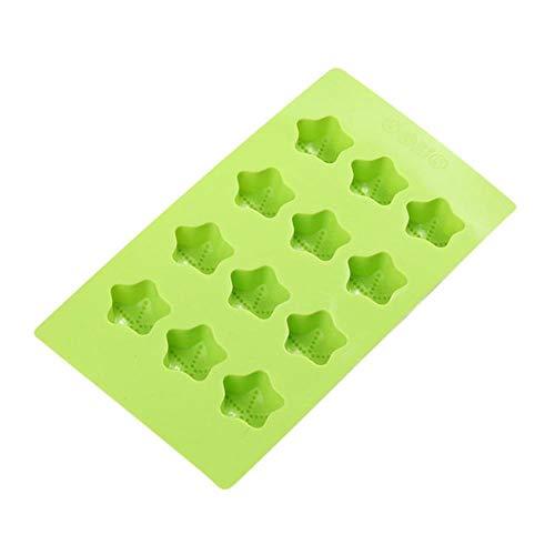 Forhome 2 stuks siliconen ijsblokjes creatieve ijsblokjesbox anti-aanbaklaag gelei chocolade snoepjes, sterren vormen Groen