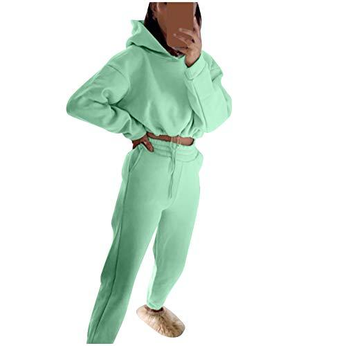 riou Conjunto Chándal de Mujer Sudadera Caliente y Esponjoso Tops + Pantalones Largo Trajes de 2 Piezas Deporta Moda de Manga Larga Ropa de salón Corredores Tallas Grandes