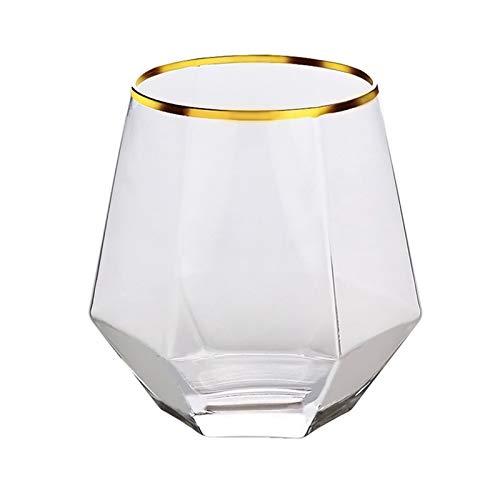 Taza de cerveza de vidrio transparente hexagonal Taza de la cerveza de la taza de agua de la leche del hogar Jsmhh (Color : Multicolor 2pcs)