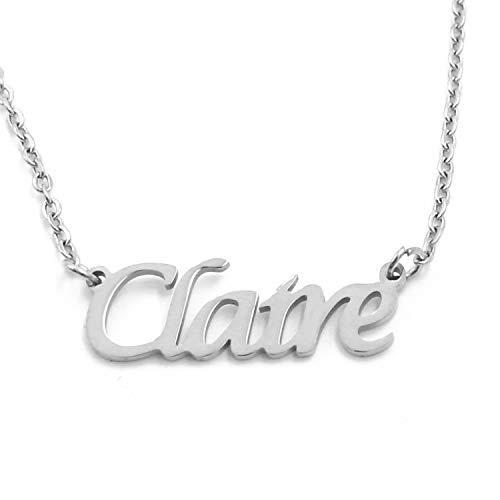 Kigu Claire - Collar con cadena ajustable con nombre personalizado, color plateado