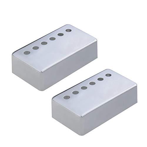 Tonabnehmerkappe 2 Stück Silber Gitarre Humbucker Pickup Cover Kit 50mm Hals 52mm Brücke 6 Löcher Design Pickup Rahmenabdeckungen Metall Für meisten E-Gitarren