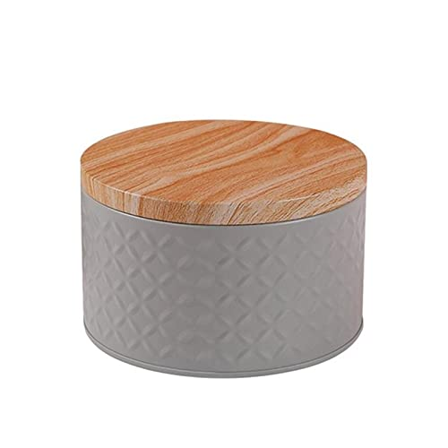 HUAYING Round Empty Iron Box With Wood Grain Lid Candy Storage Box Diy Candle Making Jar coin earrings headphones gift box