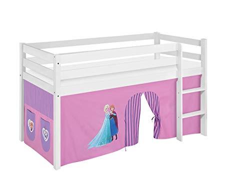 Lilokids Spielbett Jelle Eiskönigin, Hochbett mit Vorhang Kinderbett, Holz, lila, 208 x 98 x 113 cm