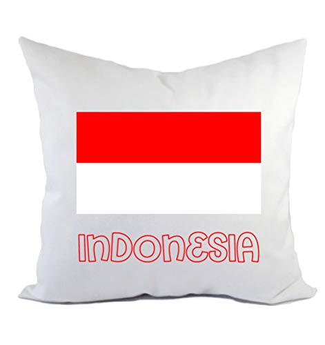 Typolitografie Ghisleri kussen Indonesië vlag kussensloop en vulling 40 x 40 cm van polyester