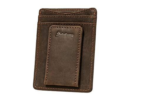 Hodalump Slimwallet mit Magnet Scheinhalter Echt-Leder Geldbörse Ultradünne Geldbörse aus Echtleder Mini Kreditkartenetui mit Geldklammer in braun