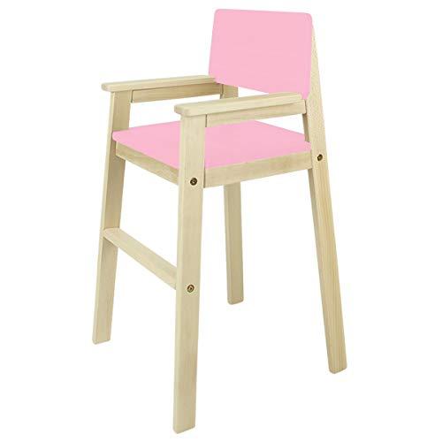 Madyes kinderstoel hoge stoel massief hout beuken natuur. Modern design. Trapstoel voor eettafel, kinderhoge stoel voor kinderen, stabiel en onderhoudsvriendelijk, vele kleuren mogelijk. roze